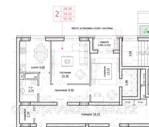 2 комнатная квартира в ЖК Inju Arena 55.55 м²