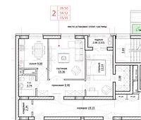 2 комнатная квартира в ЖК Inju Arena 55.55 м², фото 1
