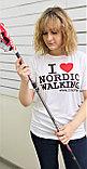 Футболка белая I LOVE NORDIC WALKING (унисекс), размер  XL, XXL, XXXL, фото 2