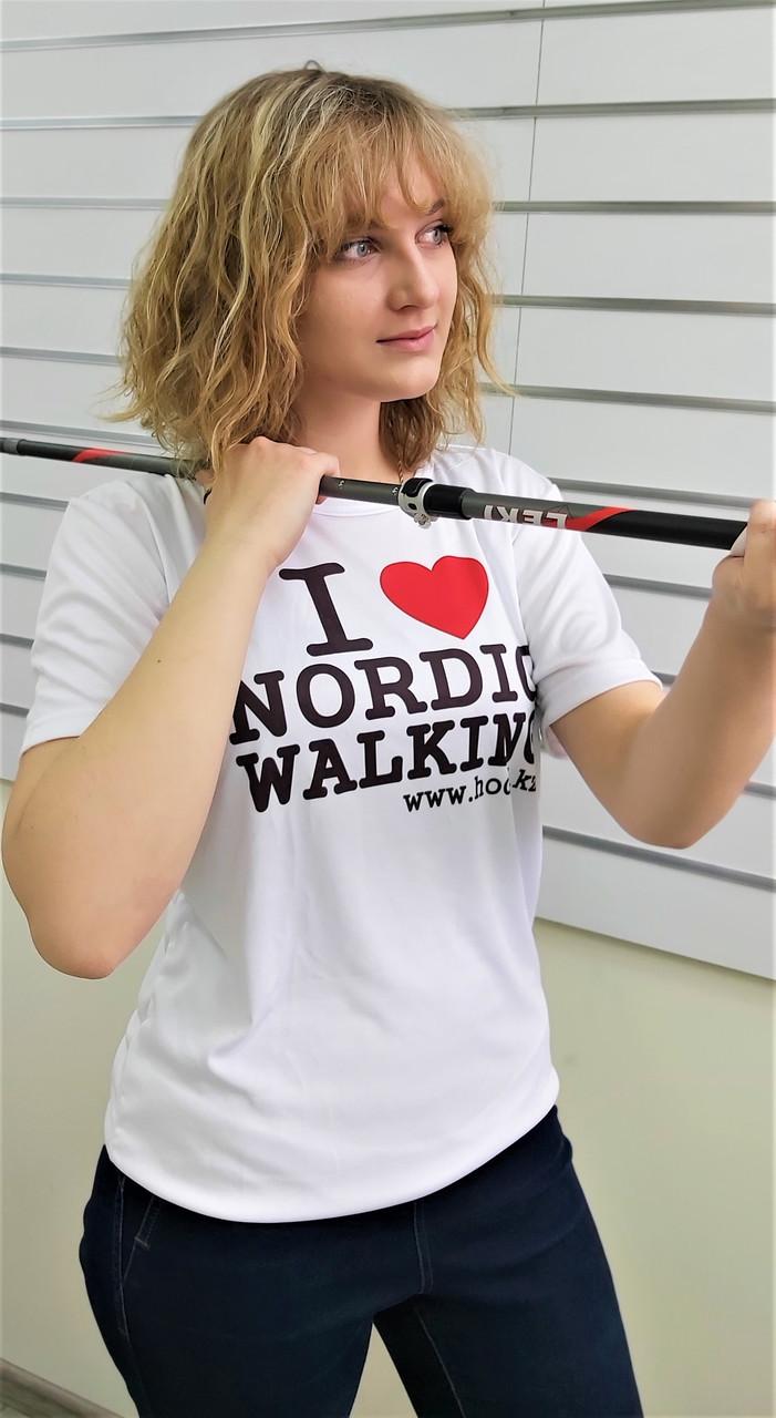Футболка белая I LOVE NORDIC WALKING (унисекс), размер  XL, XXL, XXXL