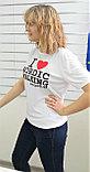Футболка белая I LOVE NORDIC WALKING (унисекс), размер  XL, XXL, XXXL, фото 3