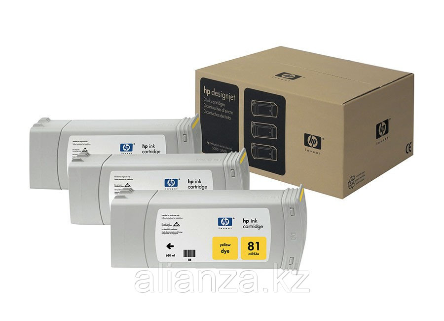 Набор картриджей HP DesignJet 81 indoor Dye Yellow 3x680 мл (C5069A)