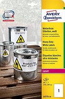 Всепогодные пленочные этикетки для лазерных принтеров Avery Zweckform, матовые L4775-20
