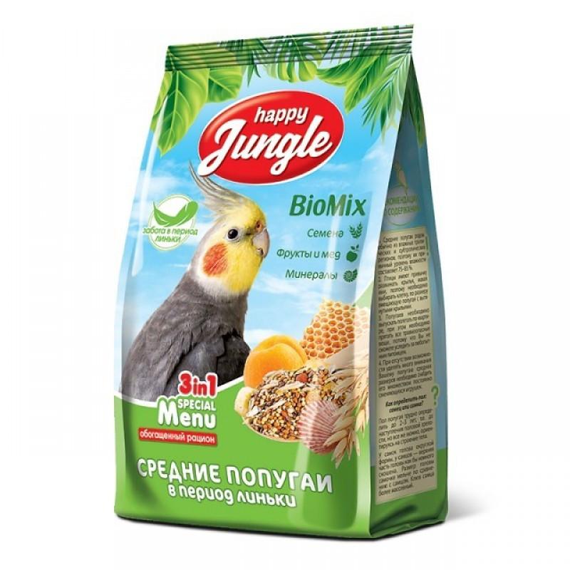 Корм для волнистых попугаев в период линьки Happy Jungle