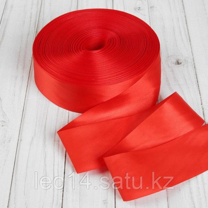 Лента атласная, 50 мм × 100 ± 5 м, цвет красный