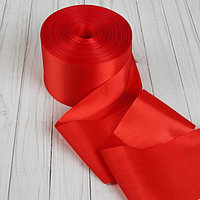 Лента атласная, 100 мм, цвет красный, намотка по 100 м.