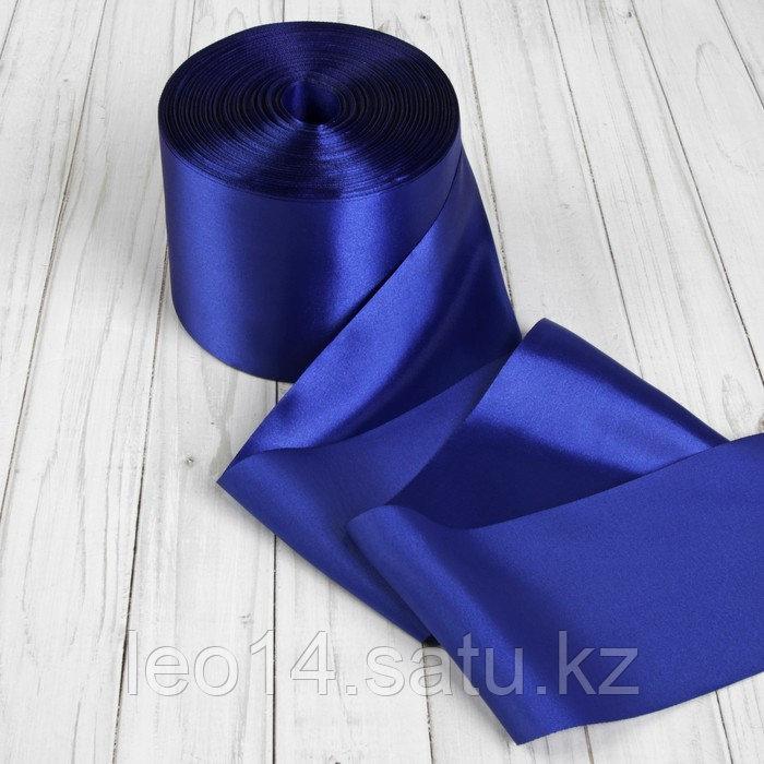 Лента атласная, 100 мм × 100 ± 5 м, цвет синий