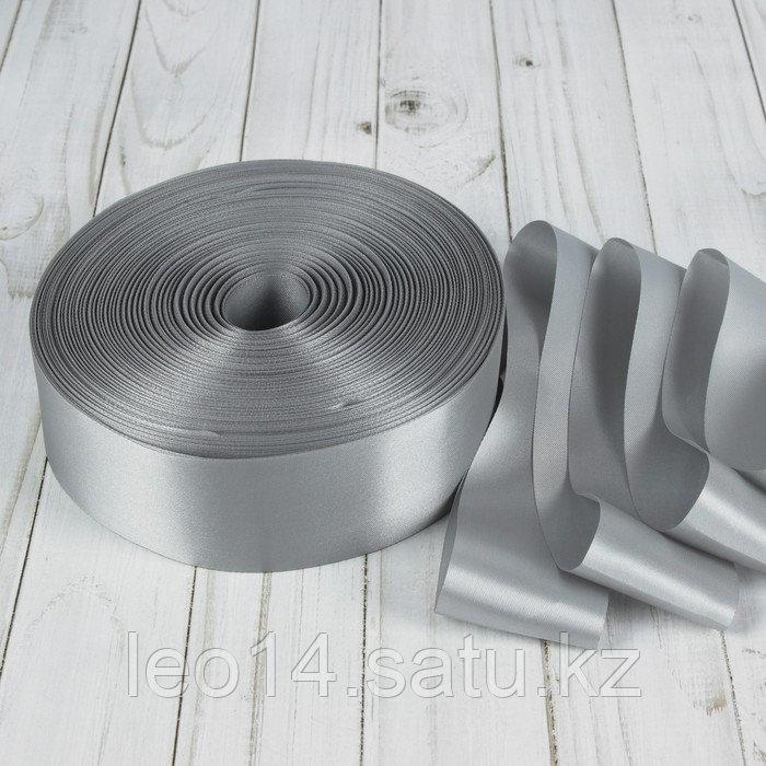 Лента атласная, 50 мм × 100 ± 5 м, цвет серебряный
