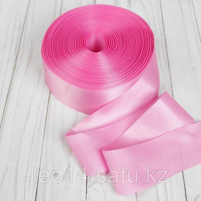 Лента атласная, 50 мм × 100 ± 5 м, цвет розовый