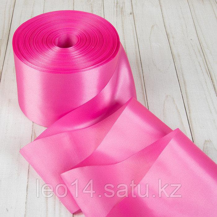 Лента атласная, 100 мм × 100 ± 5 м, цвет розовый