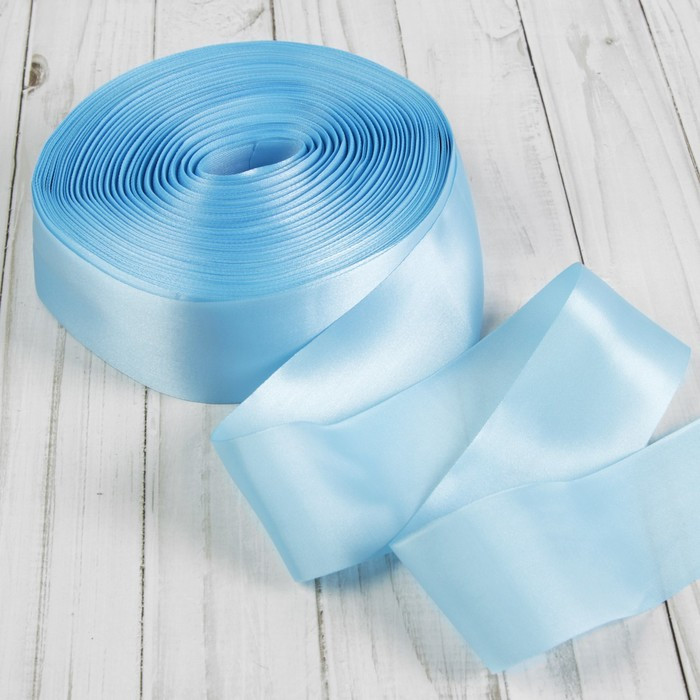 Лента атласная, 50 мм × 100 ± 5 м, цвет голубой