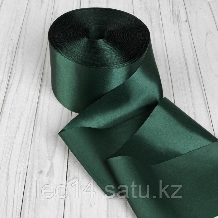 Лента атласная, 100 мм × 100 ± 1 м, цвет тёмно-зелёный