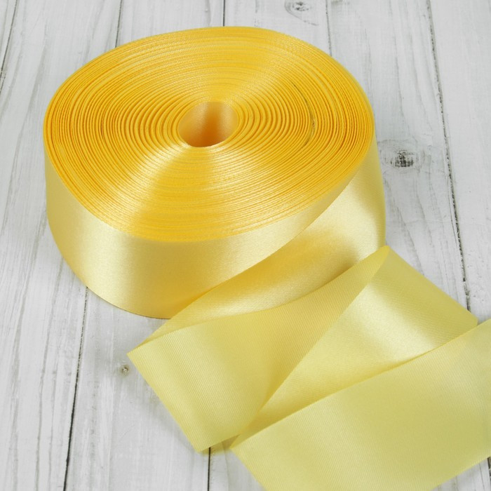 Лента атласная, 50 мм × 100 ± 5 м, цвет светло-золотой