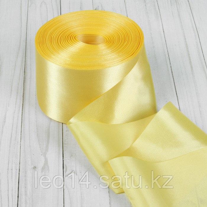 Лента атласная, 100 мм × 100 ± 5 м, цвет светло-золотой