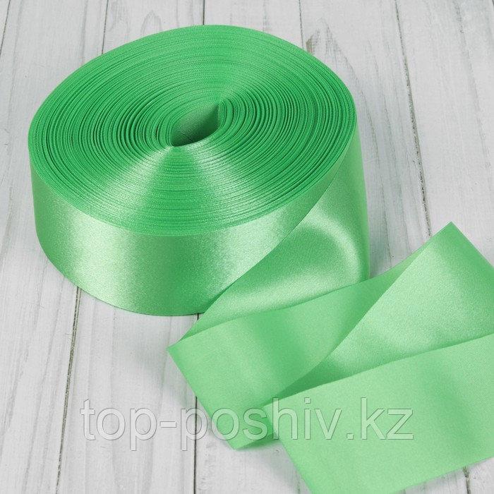 Лента атласная, 50 мм × 100 ± 5 м, цвет светло-зелёный