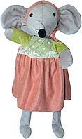 Мышка серая  в платье (зелено-бордовое) 43см