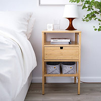 Тумба прикроватная НОРДКИЗА бамбук, 40x40 см ИКЕА, IKEA