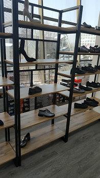 Стенд для обуви с 5 полками, с декор стенкой