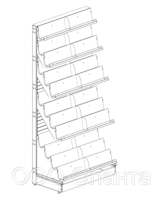 Пристенный металлический журнальный торговый стеллаж (1030х570х2250 мм) арт. СЖ-25/1