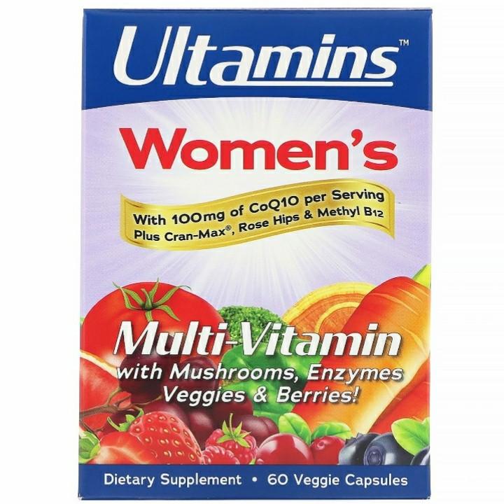 Ultamins, Женский мультивитаминный комплекс с CoQ10, грибами, ферментами, овощами и ягодами, 60 кап