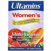 Ultamins, Женский мультивитаминный комплекс с CoQ10, грибами, ферментами, овощами и ягодами, 60 кап, фото 1