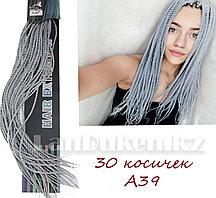 Сенегальские плетеные косички накладные афрокосички 30 прядей (серые) А39