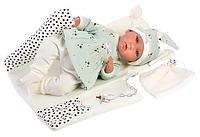 Пупс Llorens в бирюзовом костюме с одеялом