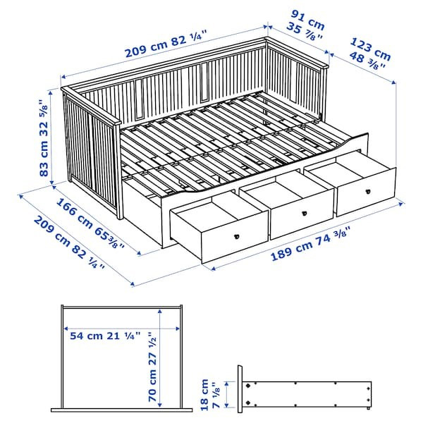 Кушетка каркас с 3 ящ. ХЕМНЭС Мосхульт жесткий, 80x200 см ИКЕА, IKEA - фото 5