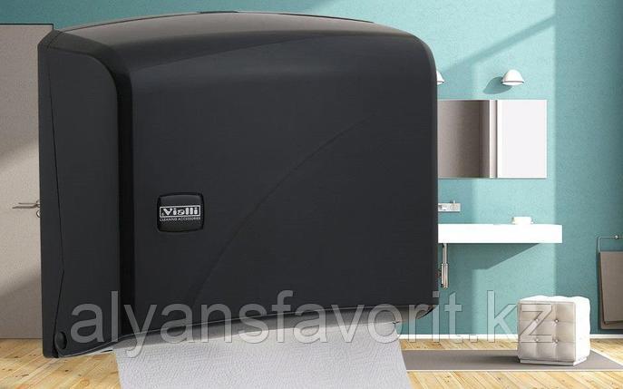 Диспенсер для листовых бумажных полотенец Z укладки Vialli K1В (черного цвета), фото 2