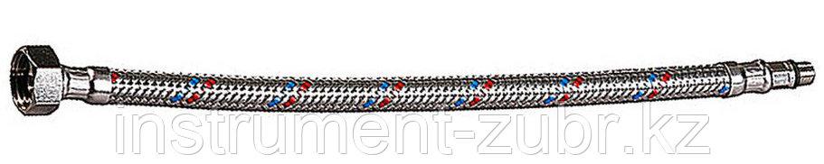 """Подводка гибкая ЗУБР для воды к смесителям, оплетка из нержавеющей стали, укороченная, г/ш 1/2"""" - 1м, фото 2"""