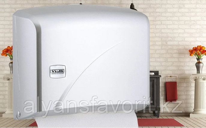 Диспенсер для листовых бумажных полотенец Z укладки Vialli K1В (металлик)., фото 2