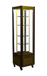 Витрина кондитерская Полюс R400Cвр Carboma Люкс (вентилир, вращающ. стекл полки, цвет шоколадно-золо