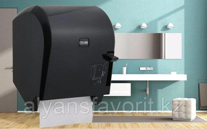 Диспенсер рулонных бумажных полотенец Vialli K8В (медицинский, локтевой, чёрного цвета), фото 2