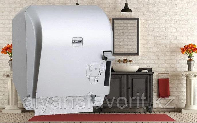 Диспенсер рулонных бумажных полотенец Vialli K8В (медицинский, локтевой, серебристого цвета), фото 2