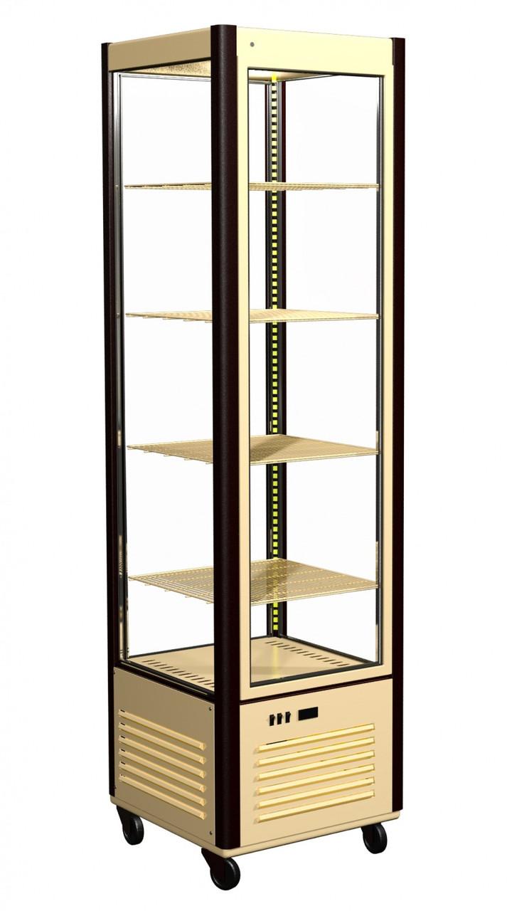 Кондитерский шкаф Полюс R400C Сarboma Люкс (D4 VM 400-1 (коричнево-золотой, 1/2, Inox))