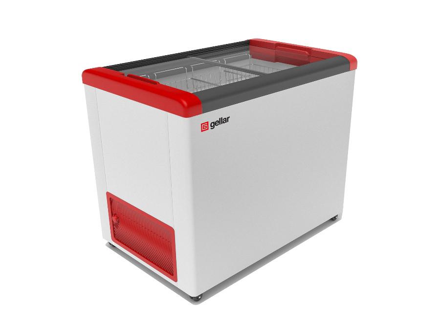 Морозильный ларь Gellar FG 350 C прямое стекло красный