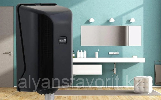 Диспенсер для рулонных бумажных полотенец центральной вытяжки Vialli, чёрного цвета, фото 2