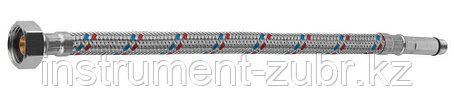Подводка гибкая ЗУБР для воды, к смесителям, оплетка из нержавеющей стали, удлиненная, г/ш 0,6м, фото 2