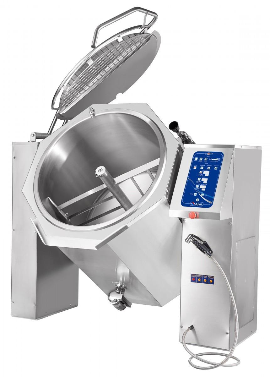 Котел пищеварочный опрокидывающийся Abat КПЭМ-250-ОМ2 с миксером и сливным краном