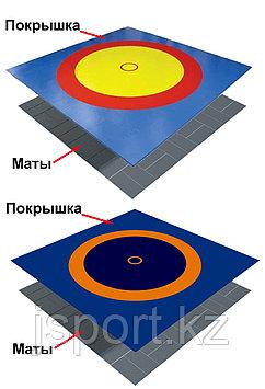 Ковер борцовский трехцветный с покрышкой, толщина матов 4 см (комплект) 12м х 12м