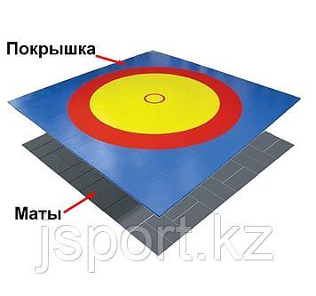 Ковер борцовский трехцветный с покрышкой, толщина матов НПЭ 5 см (комплект) 8м х 8м