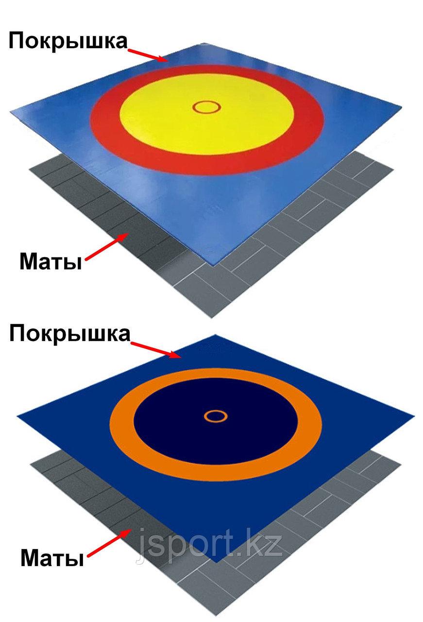 Ковер борцовский трехцветный с покрышкой, толщина матов НПЭ 5 см (комплект)