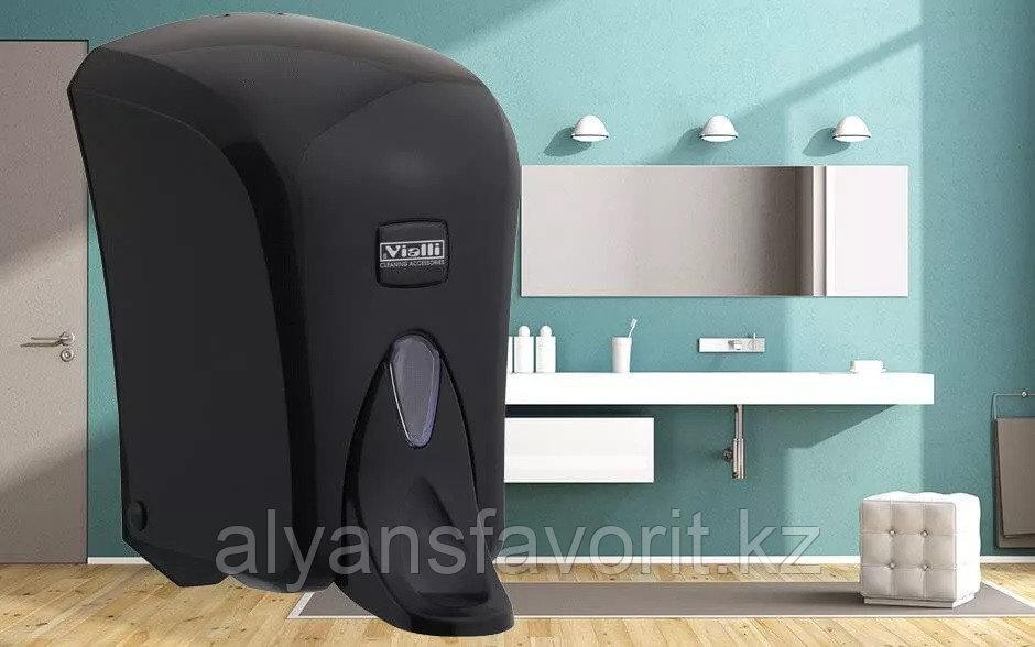 """Диспенсер (дозатор) для жидкого мыла Vialli S5МB (""""чёрный"""") 500мл., локтевой, медицинский"""