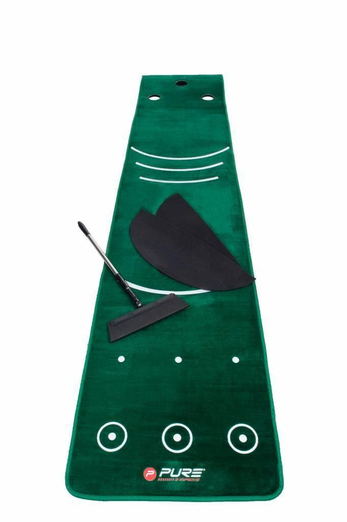 Дорожка для гольфа PURE2IMPROVE PUTTING MAT INCLUDING BROOM