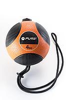 Медицинбол на веревке PURE2IMPROVE MEDICINE BALL WITH ROPE 4 кг