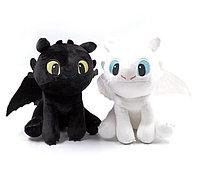 Мягкие игрушки Беззубик и Белая Фурия (Как приручить дракона) комплект 25 см