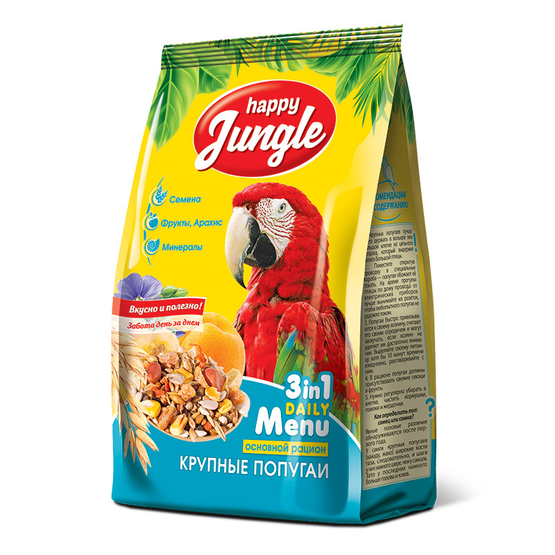 Корм для крупных попугаев Happy Jungle