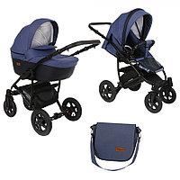 Детская коляска Pituso Confort 2 в 1 Джинс/КожаТемный Синий
