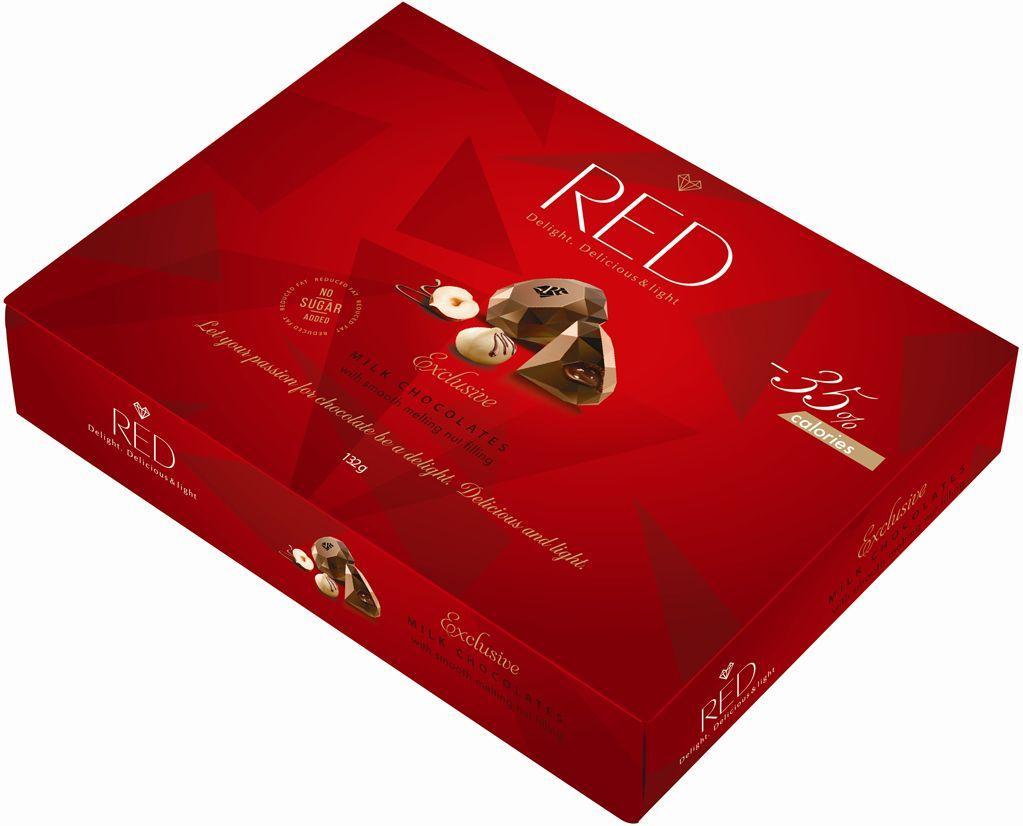 """Коробка конфет """"RED Delight"""" Молочный шоколад с ореховой начинкой со сниженной калорийностью 132 г"""