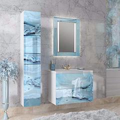 Коллекция Lacio 80 см. Подвесная тумба, зеркало, пенал. Стеклянный фасад. (Голубой мрамор)